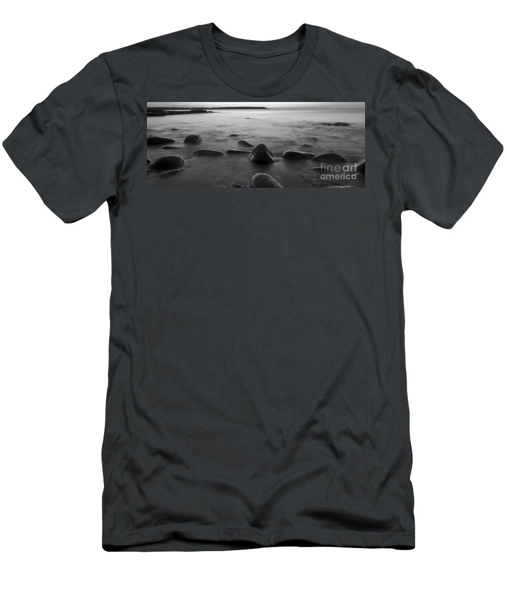 Acadia National Park Men's T-Shirt (Athletic Fit) featuring the photograph Acadia National Park Shoreline Sunrise Wakeup Black And White by Glenn Gordon