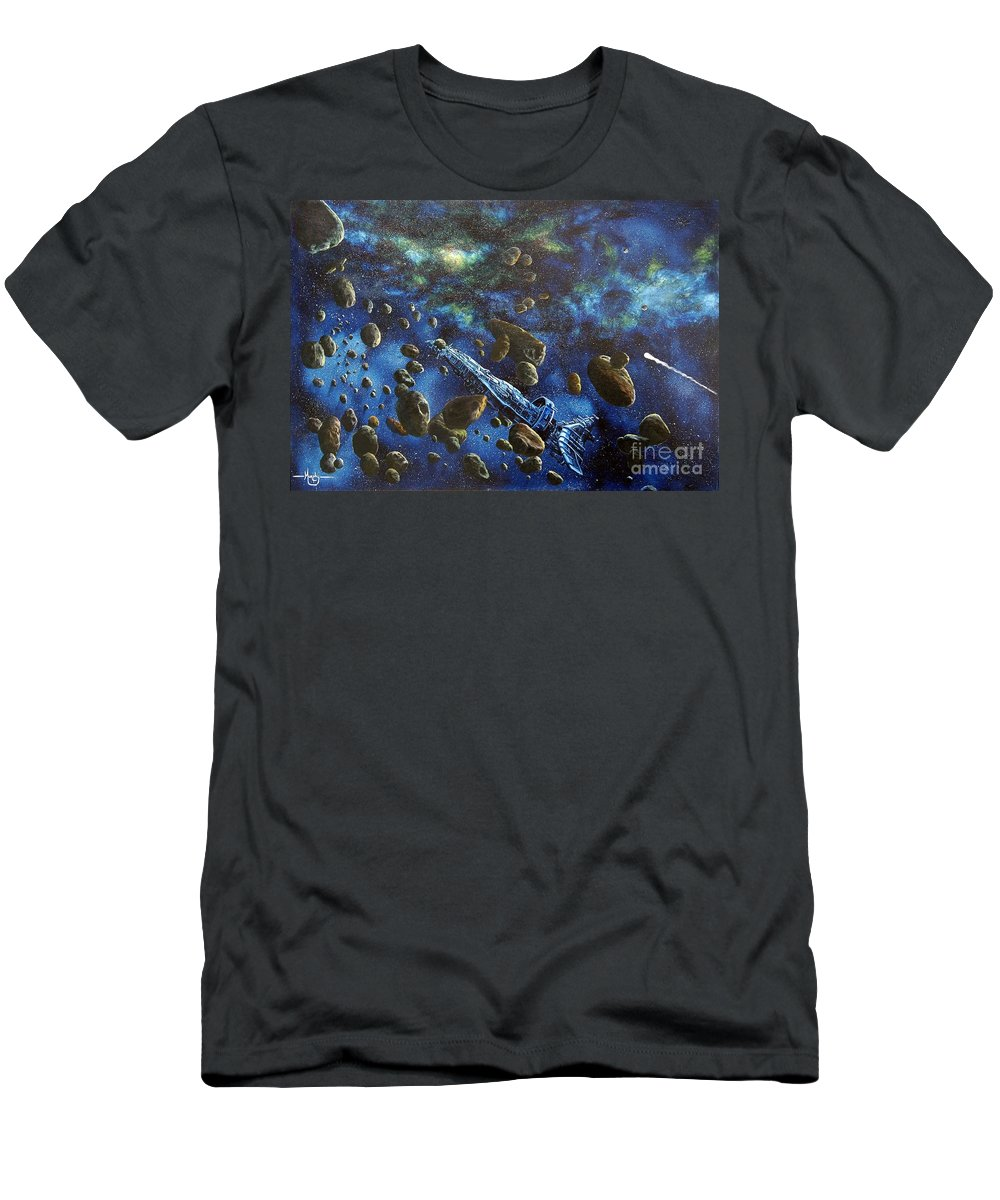 Canvas Men's T-Shirt (Athletic Fit) featuring the painting Accidental Asteroid by Murphy Elliott