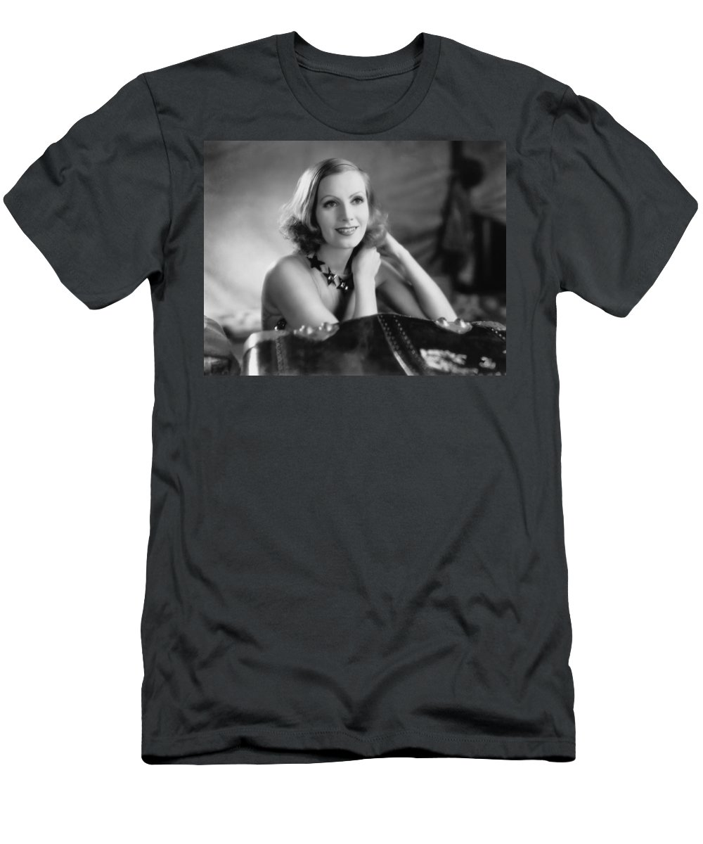 1920's Men's T-Shirt (Athletic Fit) featuring the photograph Actress Greta Garbo by Underwood Archives