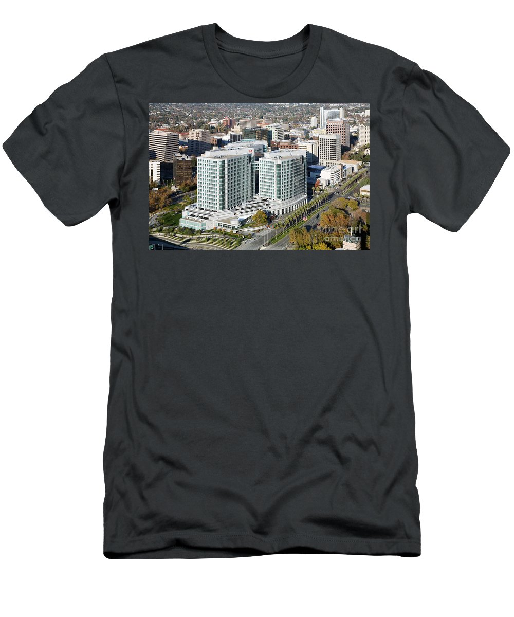 Adobe Systems Men's T-Shirt (Athletic Fit) featuring the photograph Adobe Systems Building San Jose California by Bill Cobb