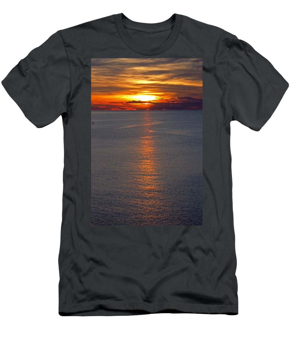Slovenia Men's T-Shirt (Athletic Fit) featuring the photograph Adriatic Sunset by Tony Murtagh