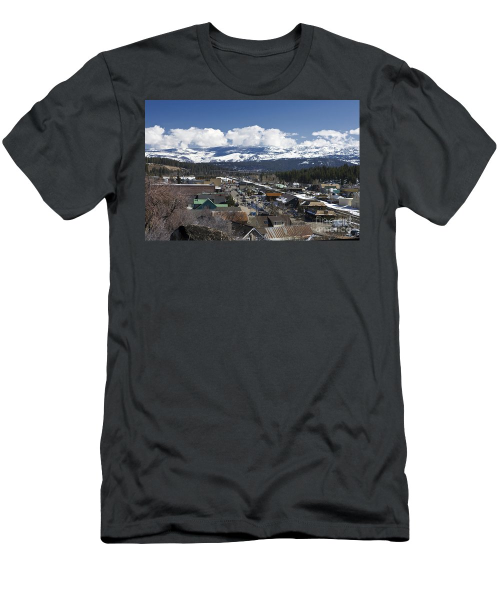 Travel Men's T-Shirt (Athletic Fit) featuring the photograph Aerial View Of Historic Downtown Truckee California by Jason O Watson