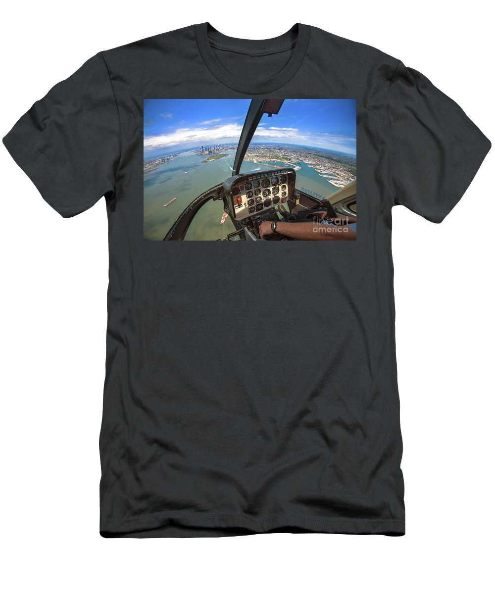 Helicopter Men's T-Shirt (Athletic Fit) featuring the photograph Aerial View Of Manhattan by Nir Ben-Yosef