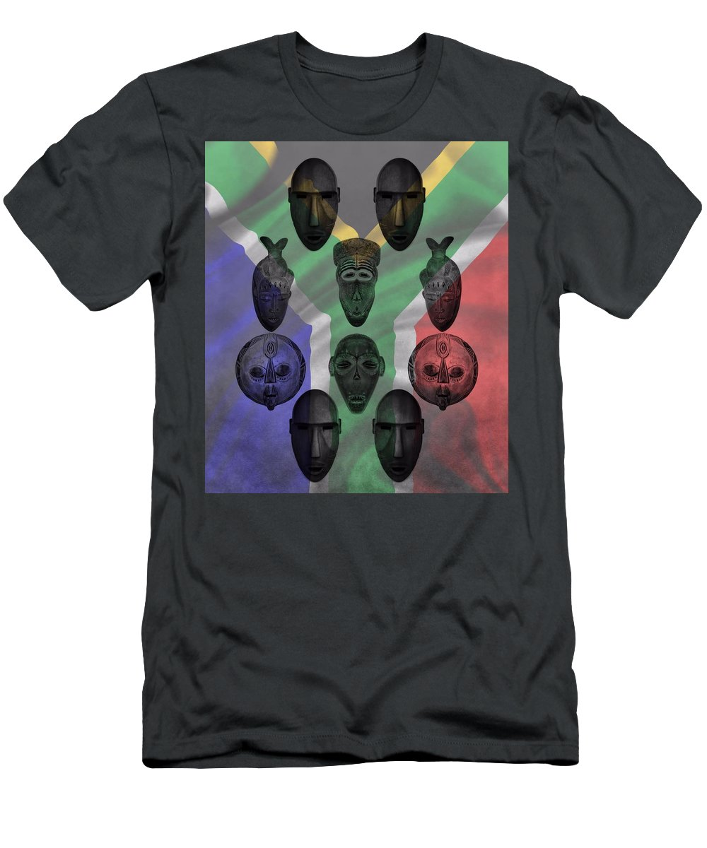 African Tribal Masks Men's T-Shirt (Athletic Fit) featuring the photograph Africa Flag And Tribal Masks by Dan Sproul