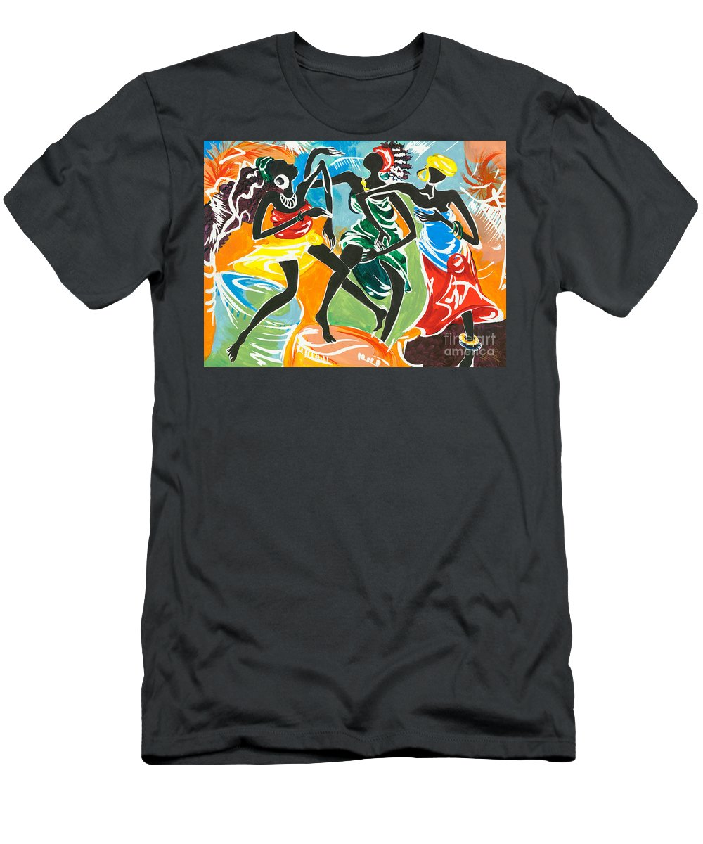 African Men's T-Shirt (Athletic Fit) featuring the painting African Dancers No. 3 by Elisabeta Hermann