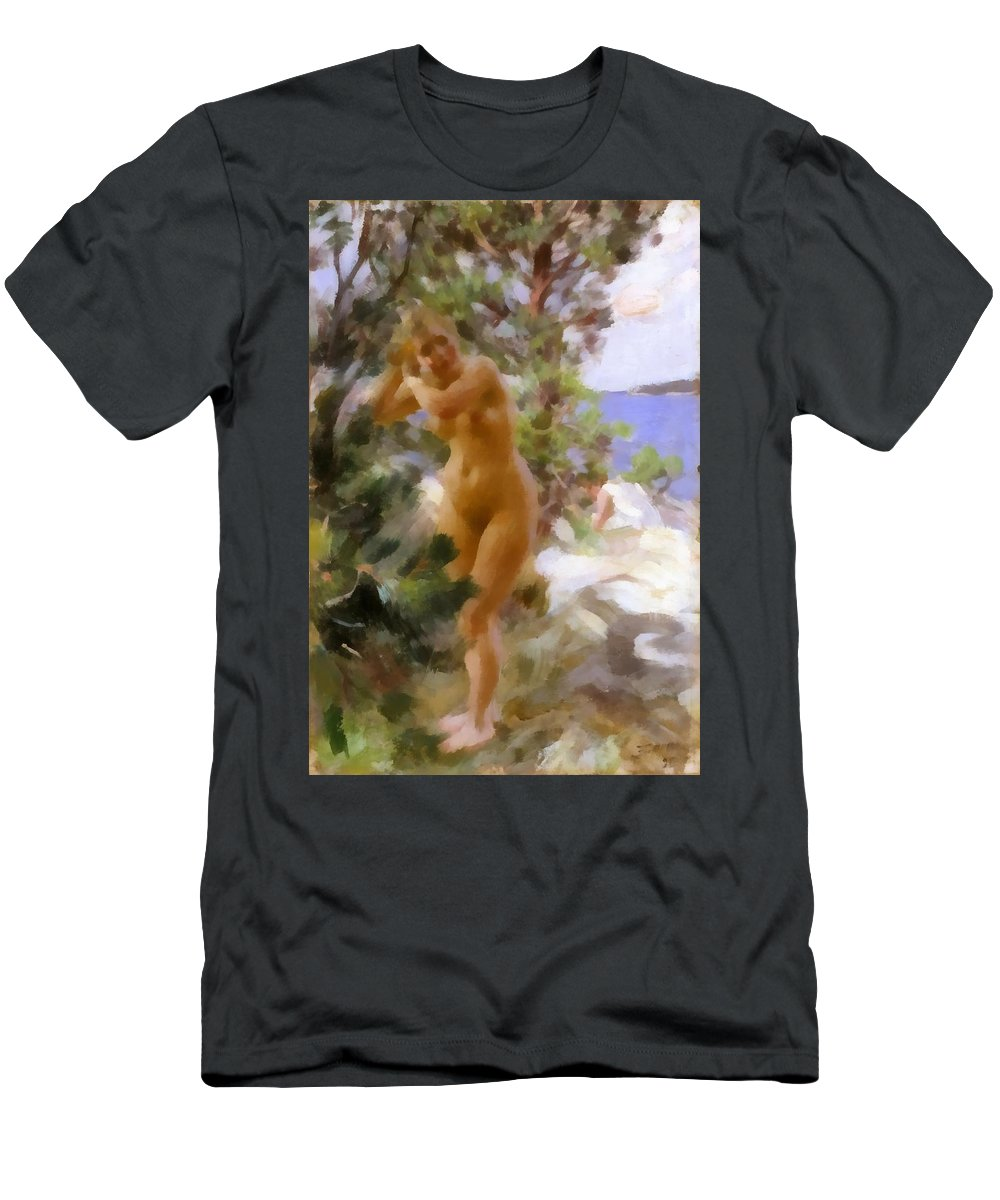 Anders Zorn Men's T-Shirt (Athletic Fit) featuring the digital art After The Bath 2 by Anders Zorn