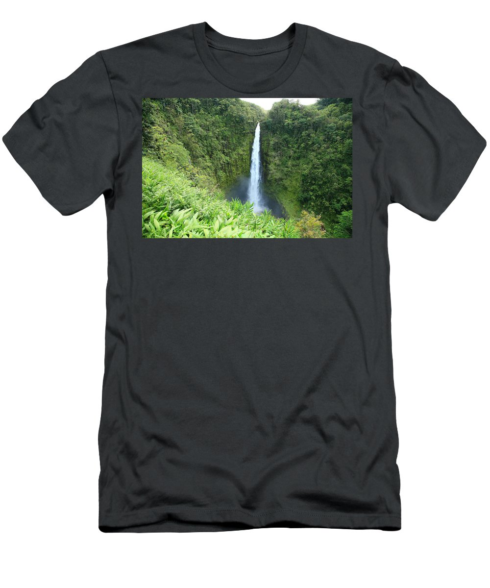 Akaka Falls Men's T-Shirt (Athletic Fit) featuring the photograph Akaka Falls by Peter French - Printscapes