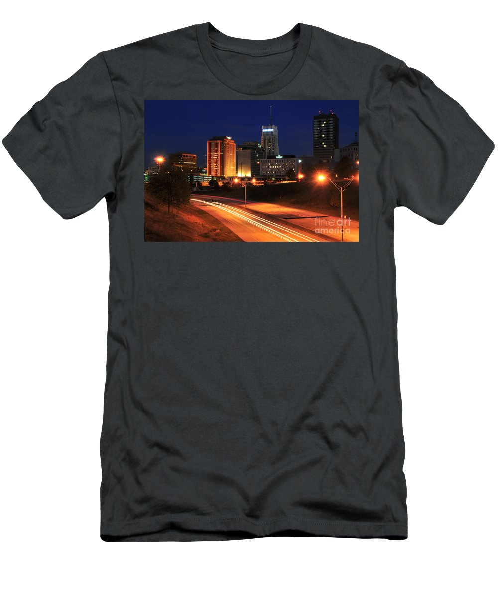 Akron Men's T-Shirt (Athletic Fit) featuring the photograph D1u-140 Akron Ohio Night Skyline Photo by Ohio Stock Photography