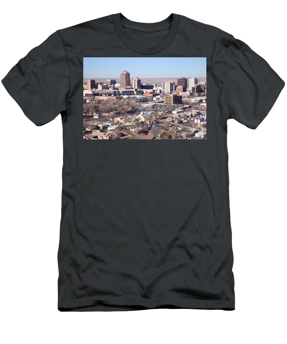 Aerial Men's T-Shirt (Athletic Fit) featuring the photograph Albuquerque Skyline by Bill Cobb