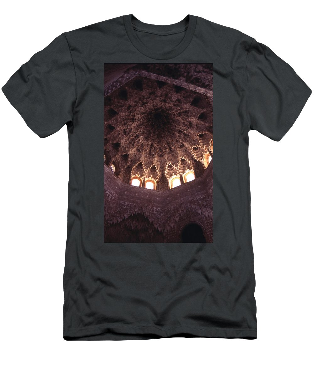 Alhambra Men's T-Shirt (Athletic Fit) featuring the photograph Alhambra Sculpted Domed Ceiling by Richard Thomas