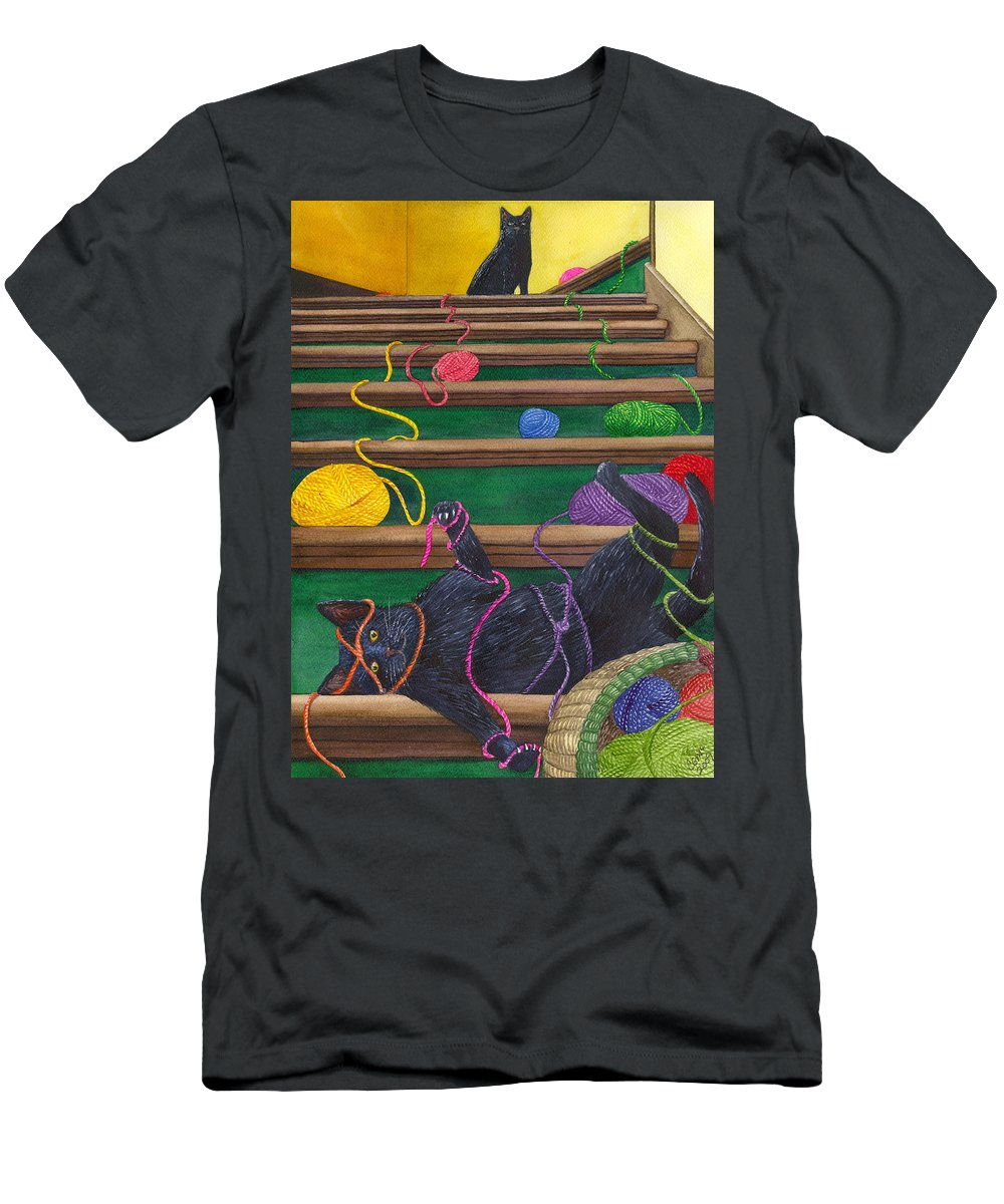 Cat Men's T-Shirt (Athletic Fit) featuring the painting All Caught Up by Catherine G McElroy