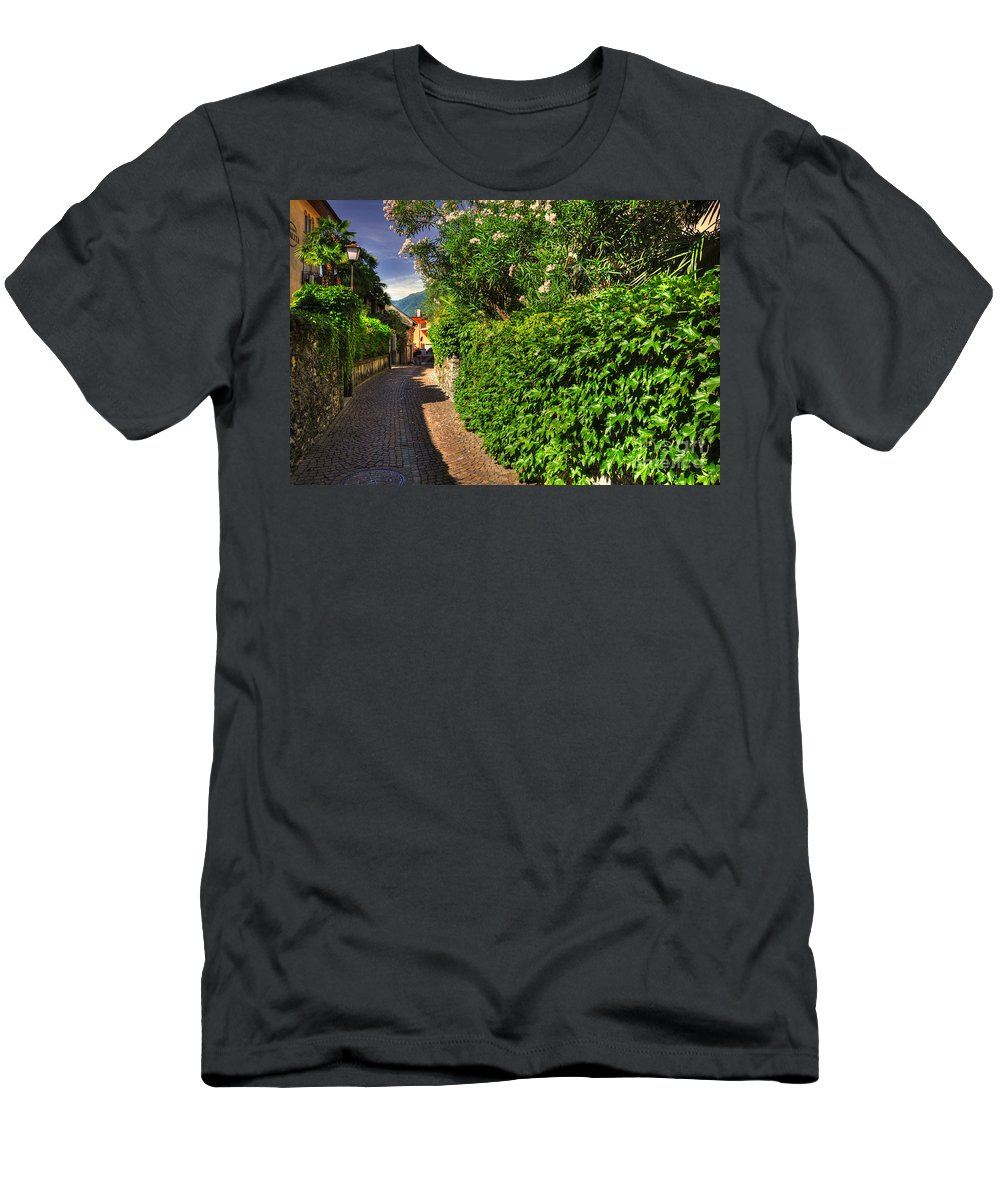 Alley Men's T-Shirt (Athletic Fit) featuring the photograph Alley With Green Plants by Mats Silvan