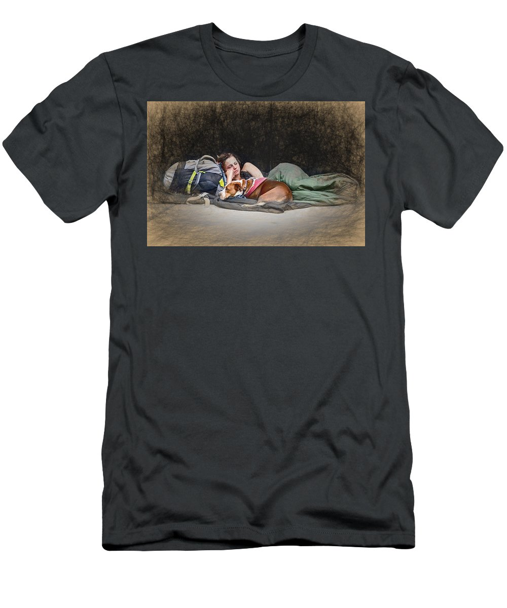 Appalachia Men's T-Shirt (Athletic Fit) featuring the mixed media Alone With Her Dog by John Haldane