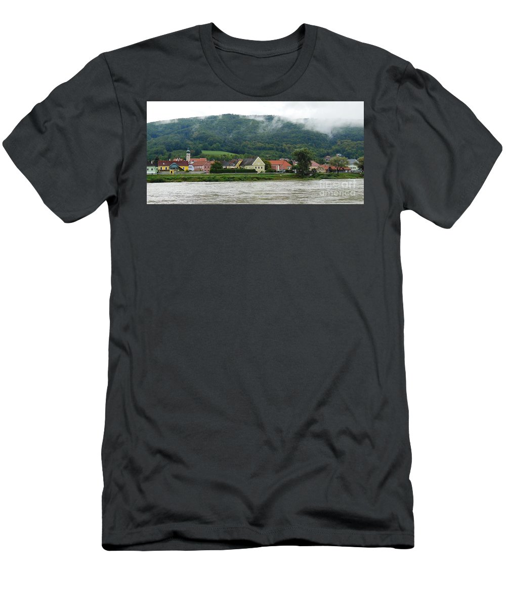 River Men's T-Shirt (Athletic Fit) featuring the photograph Along The Blue Danube by Lisa Kilby