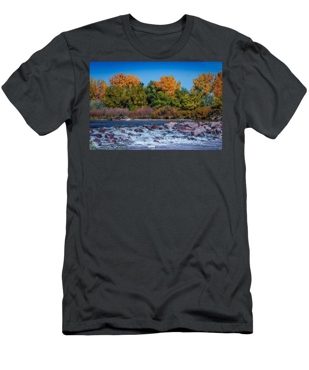 Creek Men's T-Shirt (Athletic Fit) featuring the photograph Along The Creek by Ernie Echols