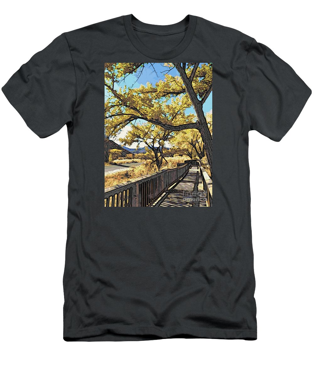 Boardwalk Men's T-Shirt (Athletic Fit) featuring the photograph Along The Path by Jacklyn Duryea Fraizer