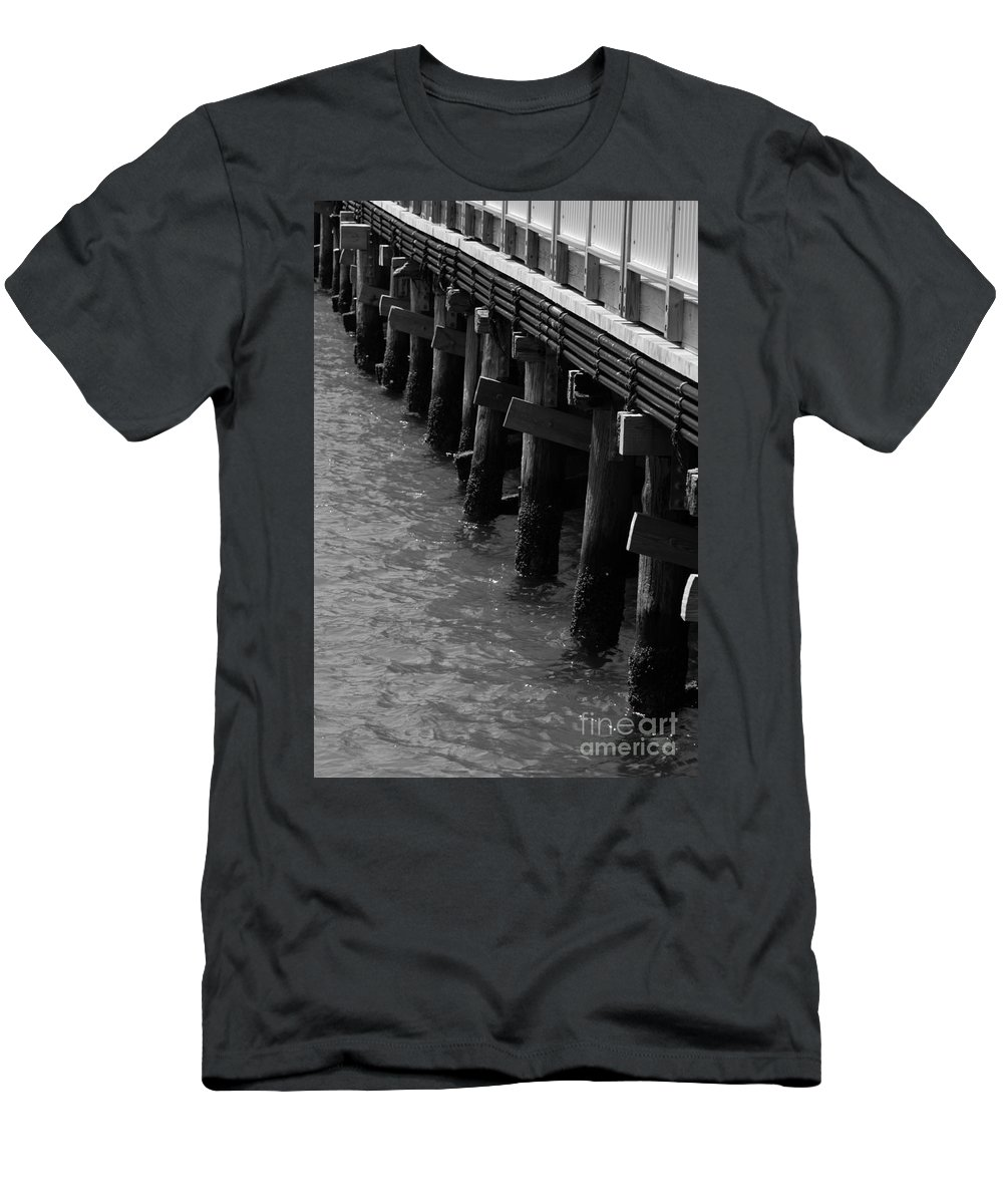 Barbara Bardzik Men's T-Shirt (Athletic Fit) featuring the photograph Along The Pier by Barbara Bardzik