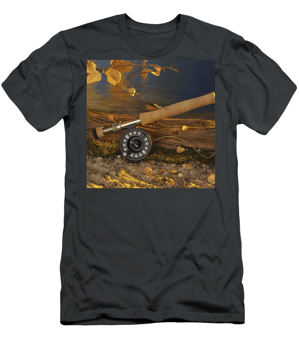 Fishing Men's T-Shirt (Athletic Fit) featuring the photograph Along The Stream by Jerry McElroy