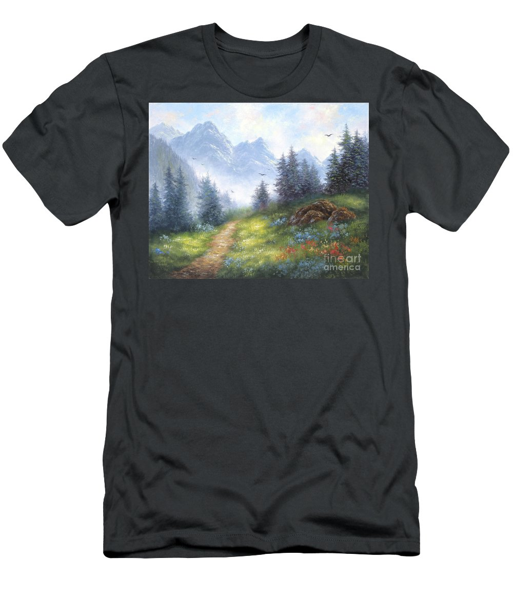 Landscape Men's T-Shirt (Athletic Fit) featuring the painting Alpine View by Vickie Wade