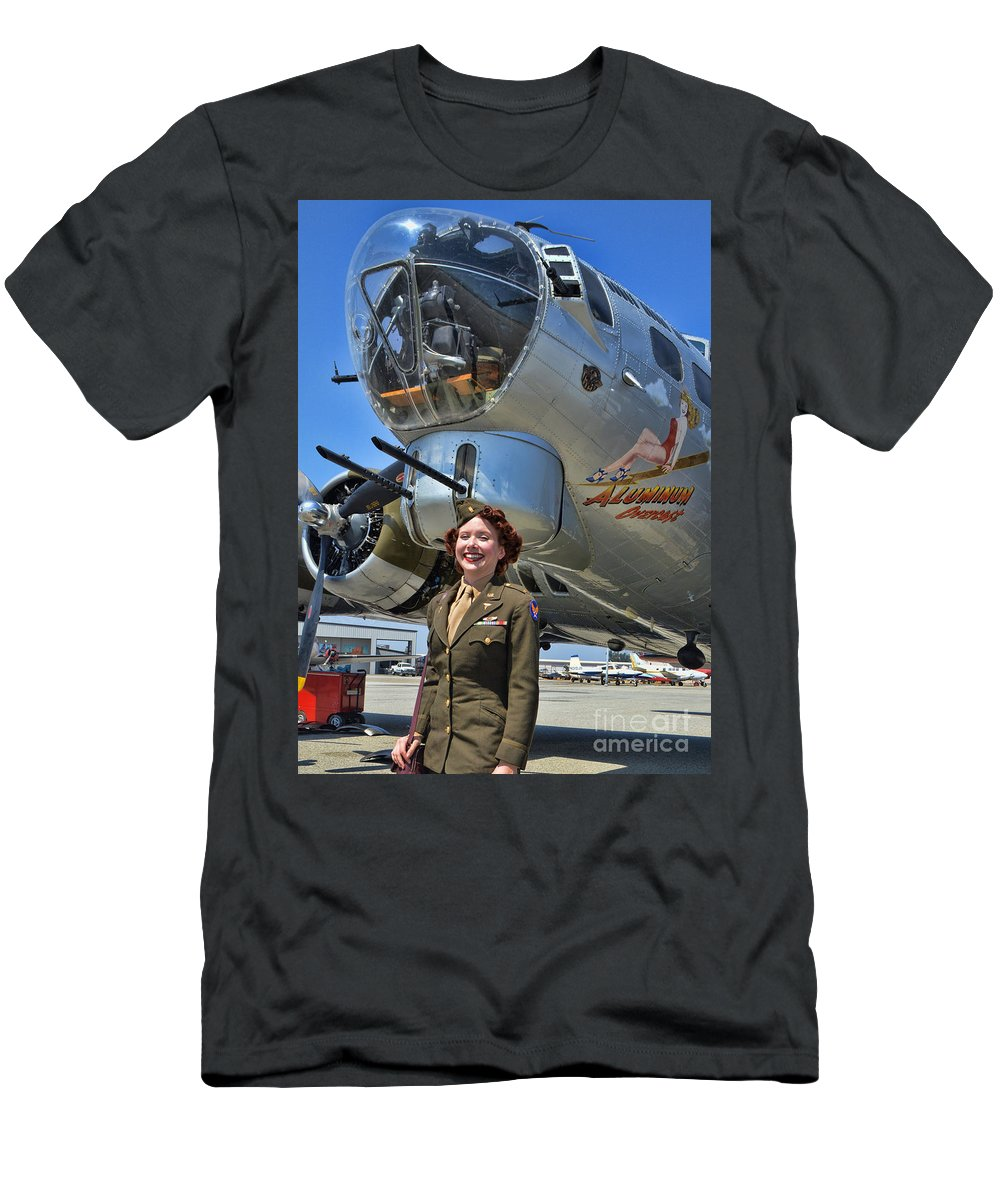 Boeing B-17 Flying Fortress Men's T-Shirt (Athletic Fit) featuring the photograph Aluminum Overcast 2 by Tommy Anderson