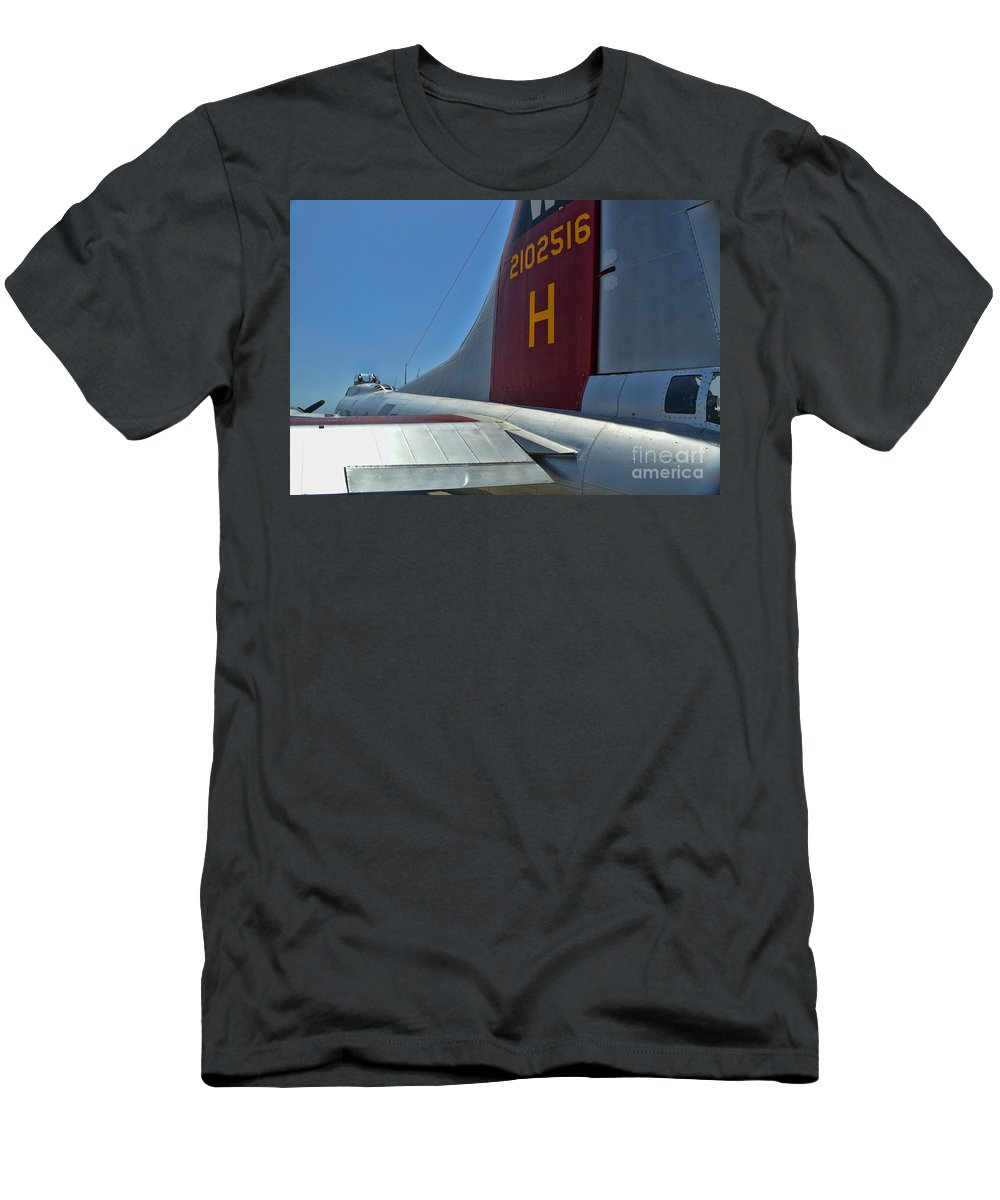 Boeing B-17 Flying Fortress Men's T-Shirt (Athletic Fit) featuring the photograph Aluminum Overcast 4 by Tommy Anderson