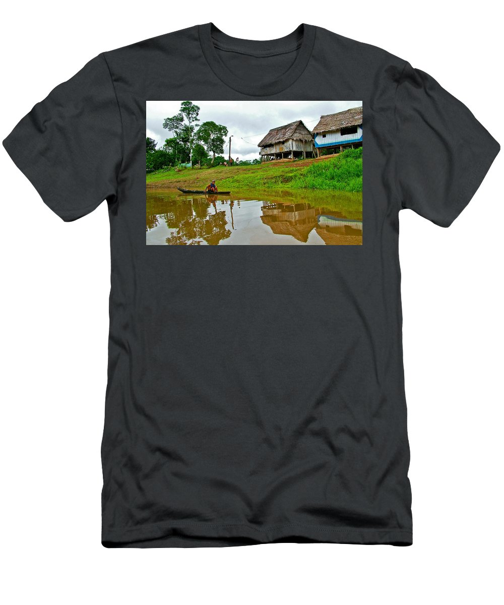 Amazon River Reflections Men's T-Shirt (Athletic Fit) featuring the photograph Amazon River Reflections-peru by Ruth Hager