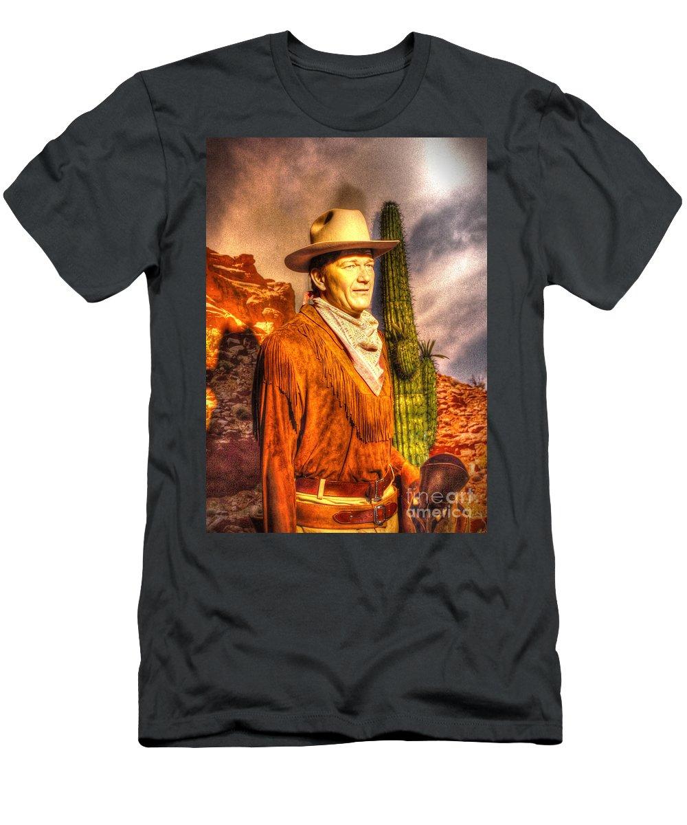 John Men's T-Shirt (Athletic Fit) featuring the digital art American Cinema Icons - The Duke by Dan Stone