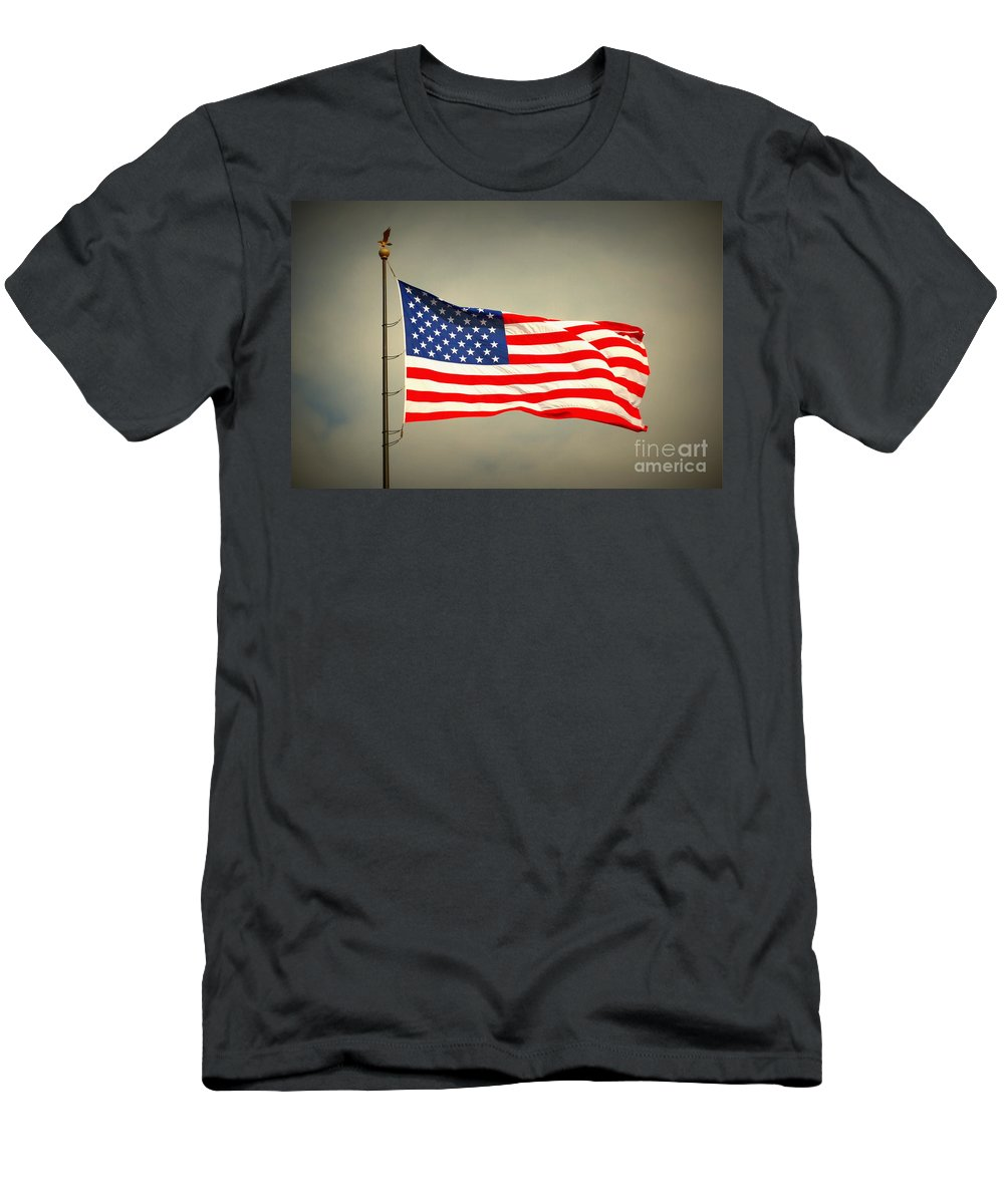 Flag Men's T-Shirt (Athletic Fit) featuring the photograph American Flag by Derry Murphy