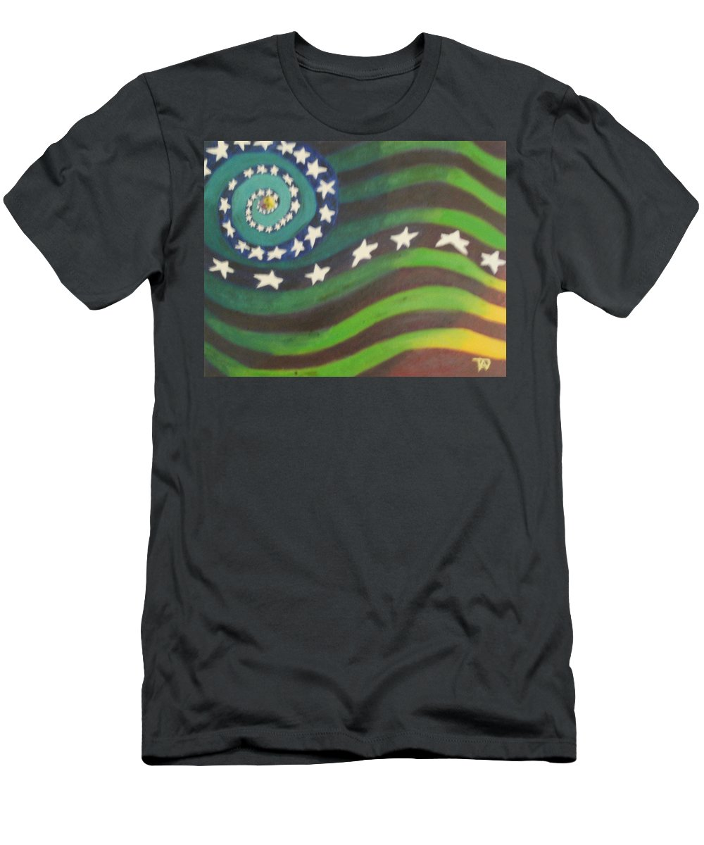 American Flag Men's T-Shirt (Athletic Fit) featuring the painting American Flag Reprise by Thomasina Durkay