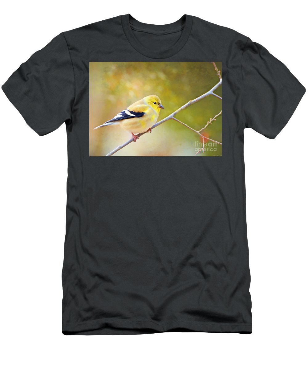 Branch Men's T-Shirt (Athletic Fit) featuring the photograph American Goldfinch - Digital Paint by Debbie Portwood