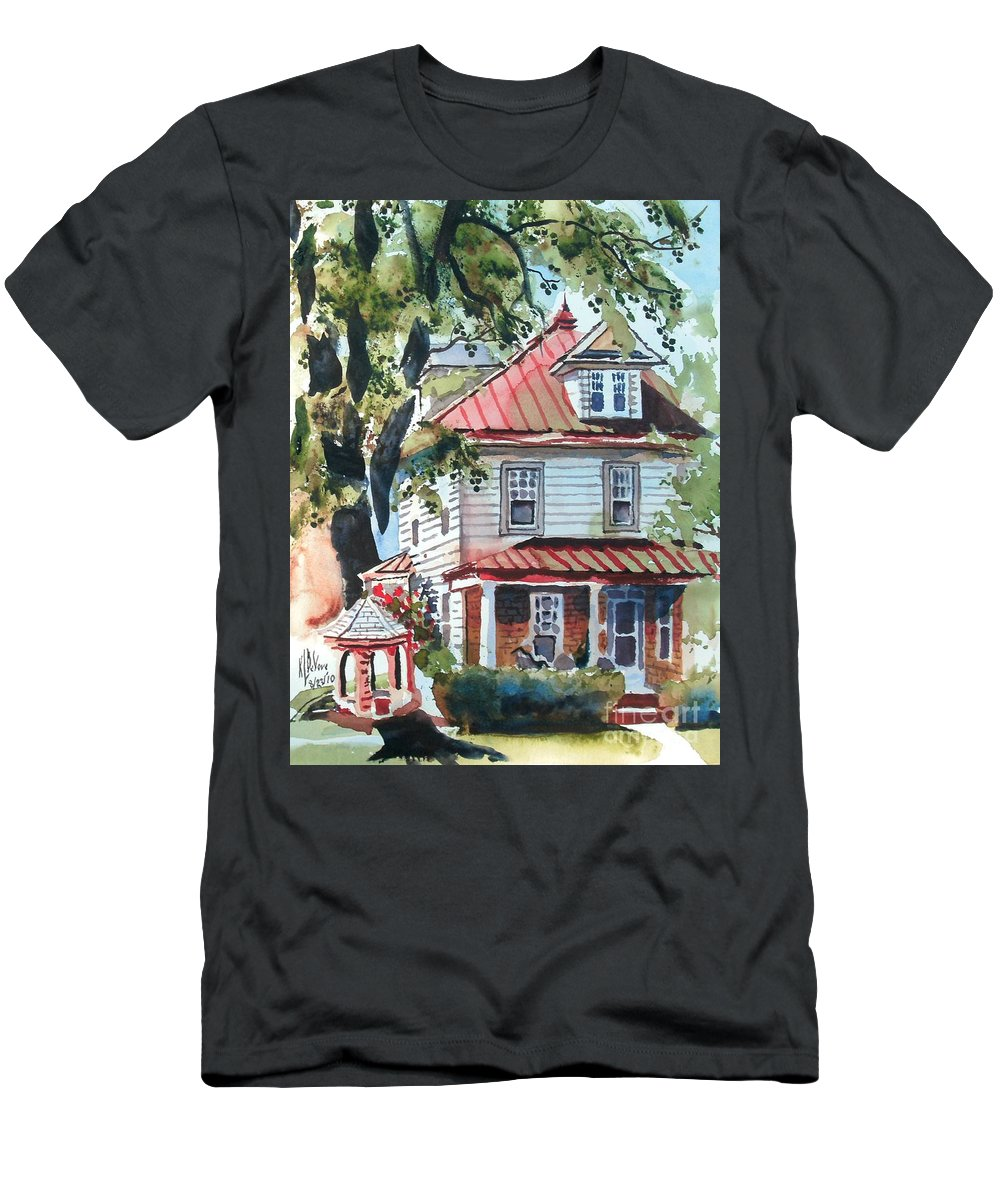 American Home With Children's Gazebo Men's T-Shirt (Athletic Fit) featuring the painting American Home With Children's Gazebo by Kip DeVore