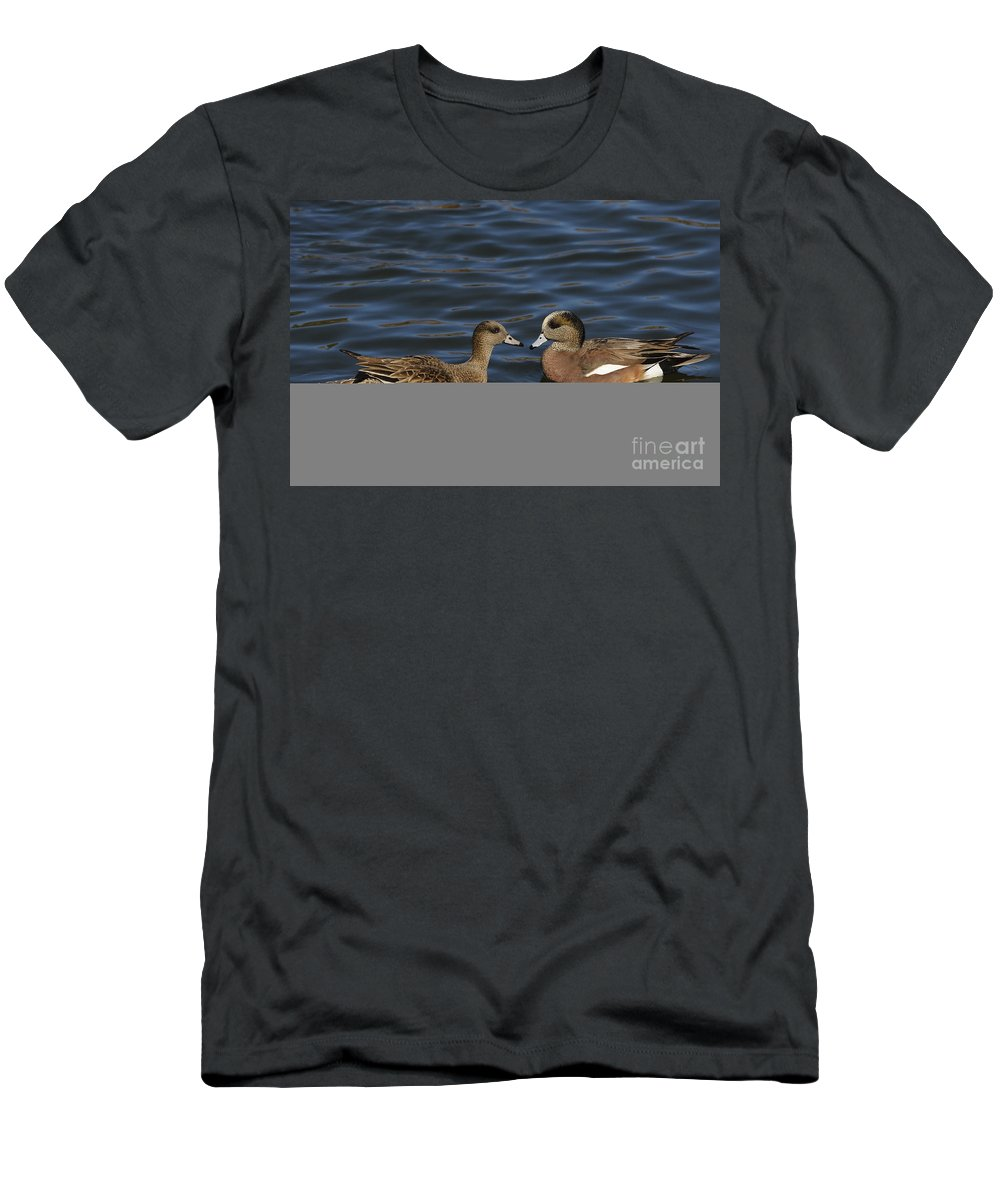 New Mexico Fauna Men's T-Shirt (Athletic Fit) featuring the photograph American Widgeon Pair by John Shaw