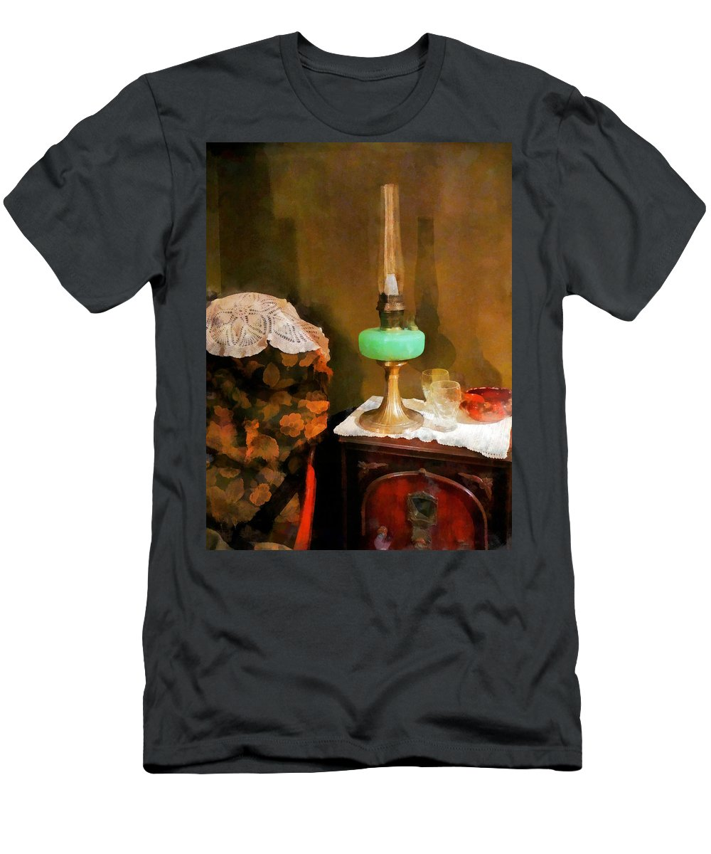 Lamp Men's T-Shirt (Athletic Fit) featuring the photograph Americana - Still Life With Hurricane Lamp by Susan Savad