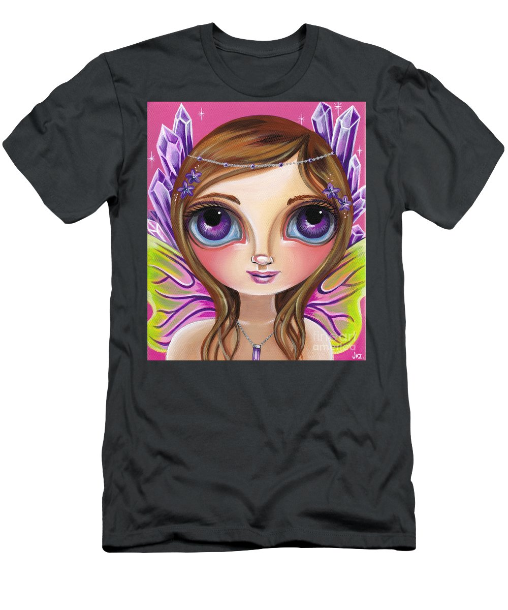 Amethyst T-Shirt featuring the painting Amethyst Fairy by Jaz Higgins