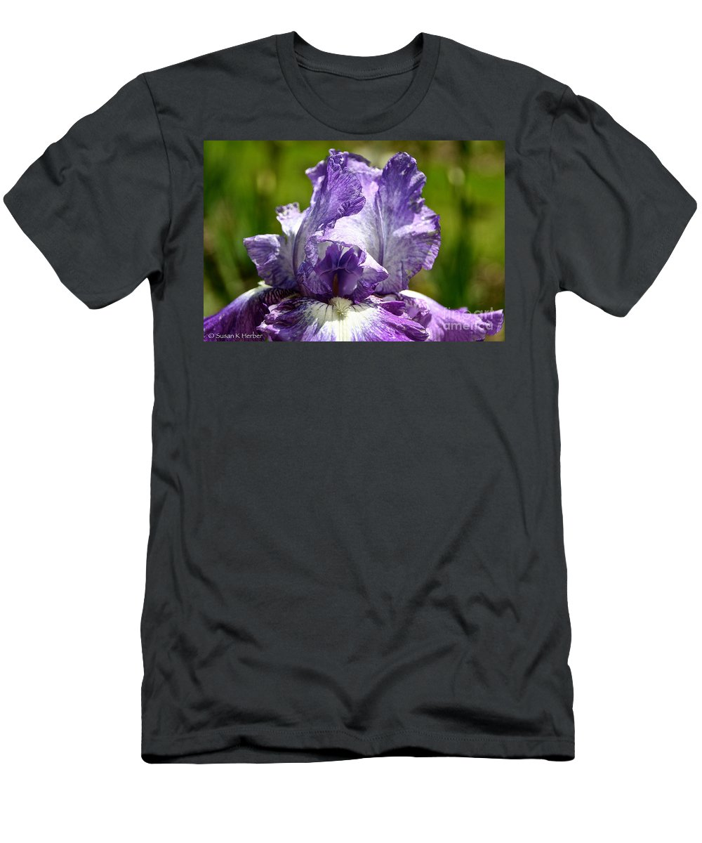 Flower Men's T-Shirt (Athletic Fit) featuring the photograph Amethyst Iris by Susan Herber
