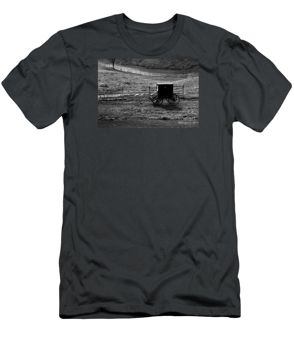 Amish Men's T-Shirt (Athletic Fit) featuring the photograph Amish Buggy by Kathleen Struckle