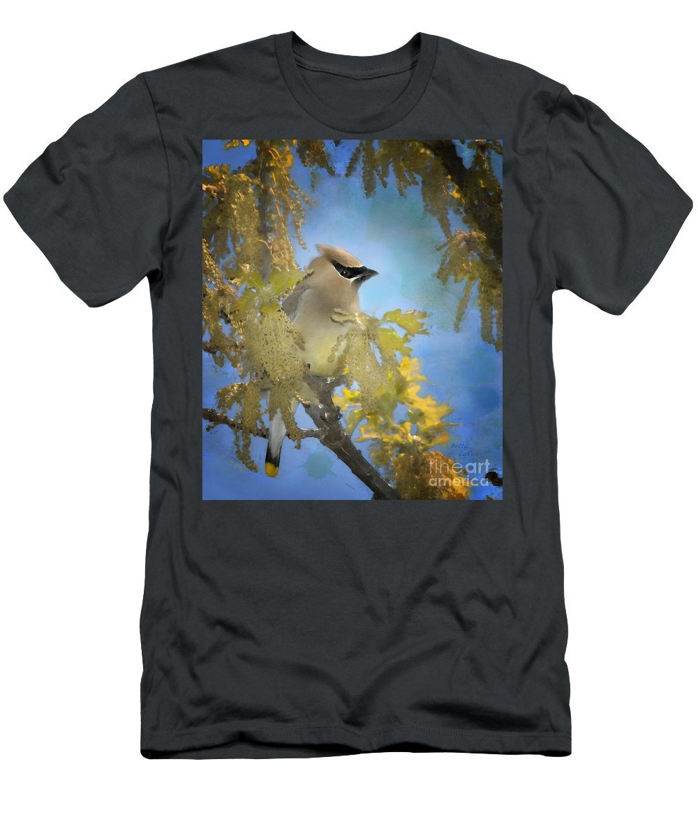 Cedar Waxwing Men's T-Shirt (Athletic Fit) featuring the photograph Among The Catkins by Betty LaRue