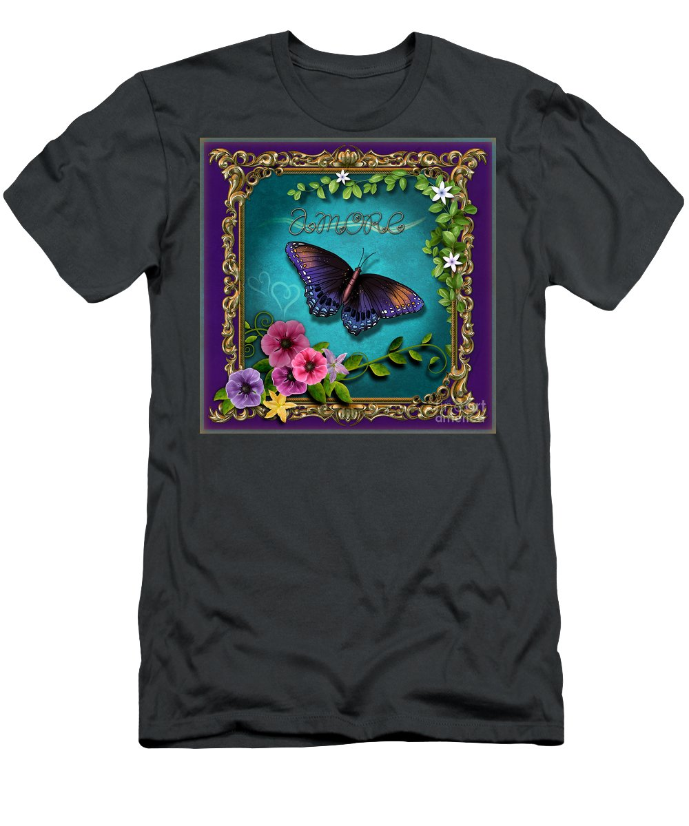 Amore Men's T-Shirt (Athletic Fit) featuring the digital art Amore - Butterfly Version by Peter Awax