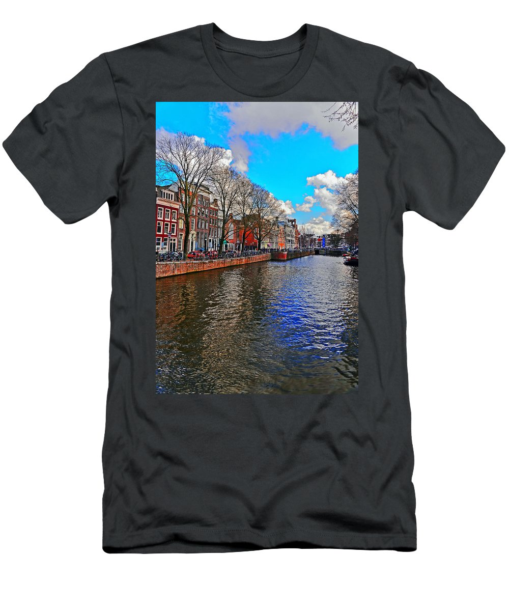 Travel Men's T-Shirt (Athletic Fit) featuring the photograph Amsterdam Canal In Spring by Elvis Vaughn