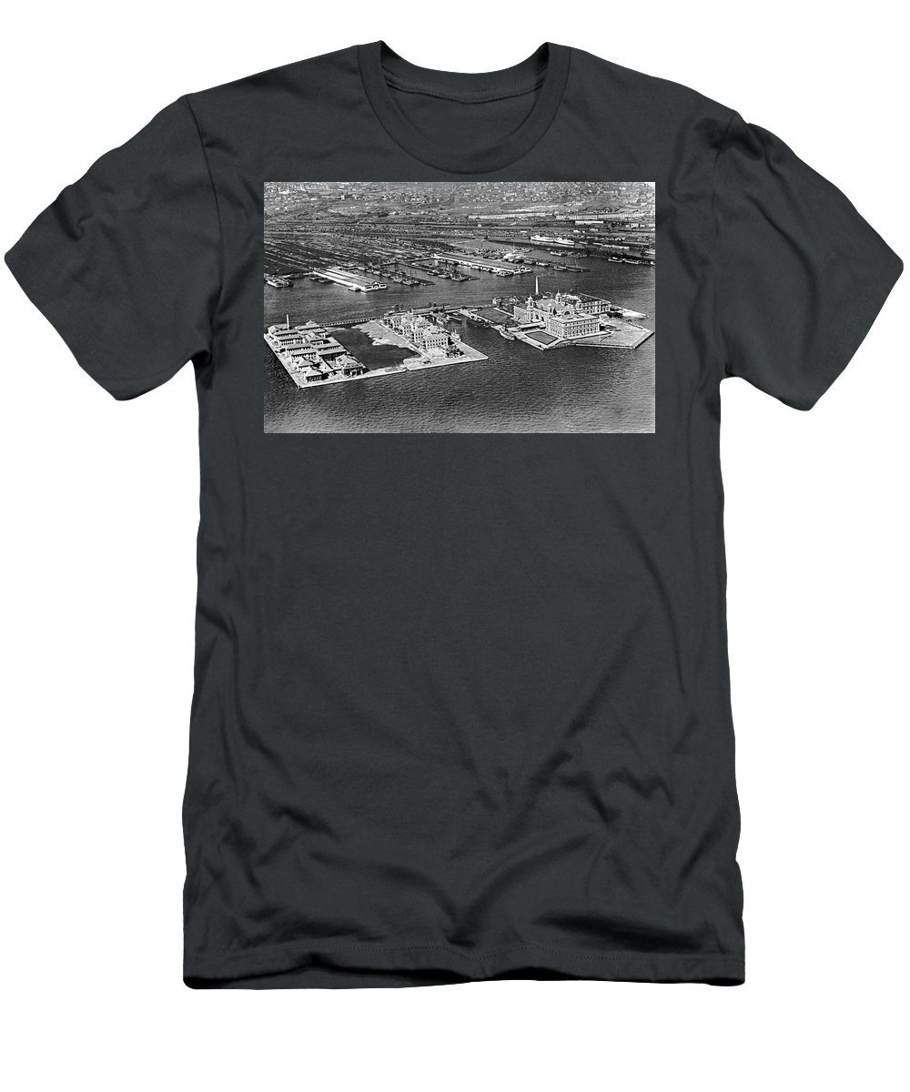 1920s Men's T-Shirt (Athletic Fit) featuring the photograph An Aerial View Of Ellis Island by Underwood Archives