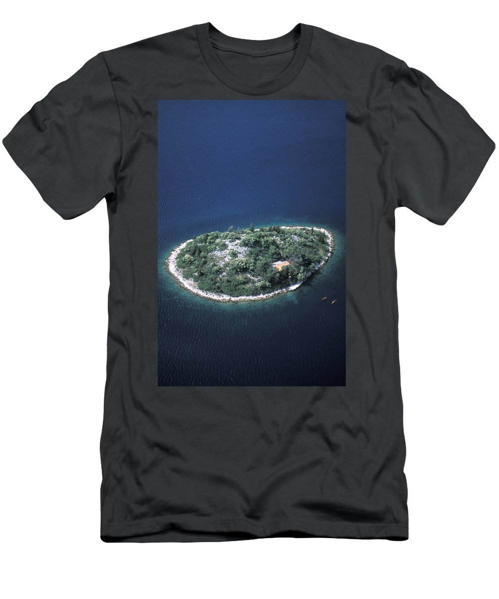 Adriatic Men's T-Shirt (Athletic Fit) featuring the photograph An Aerial View Of Two Kayakers Paddling by Peter McBride