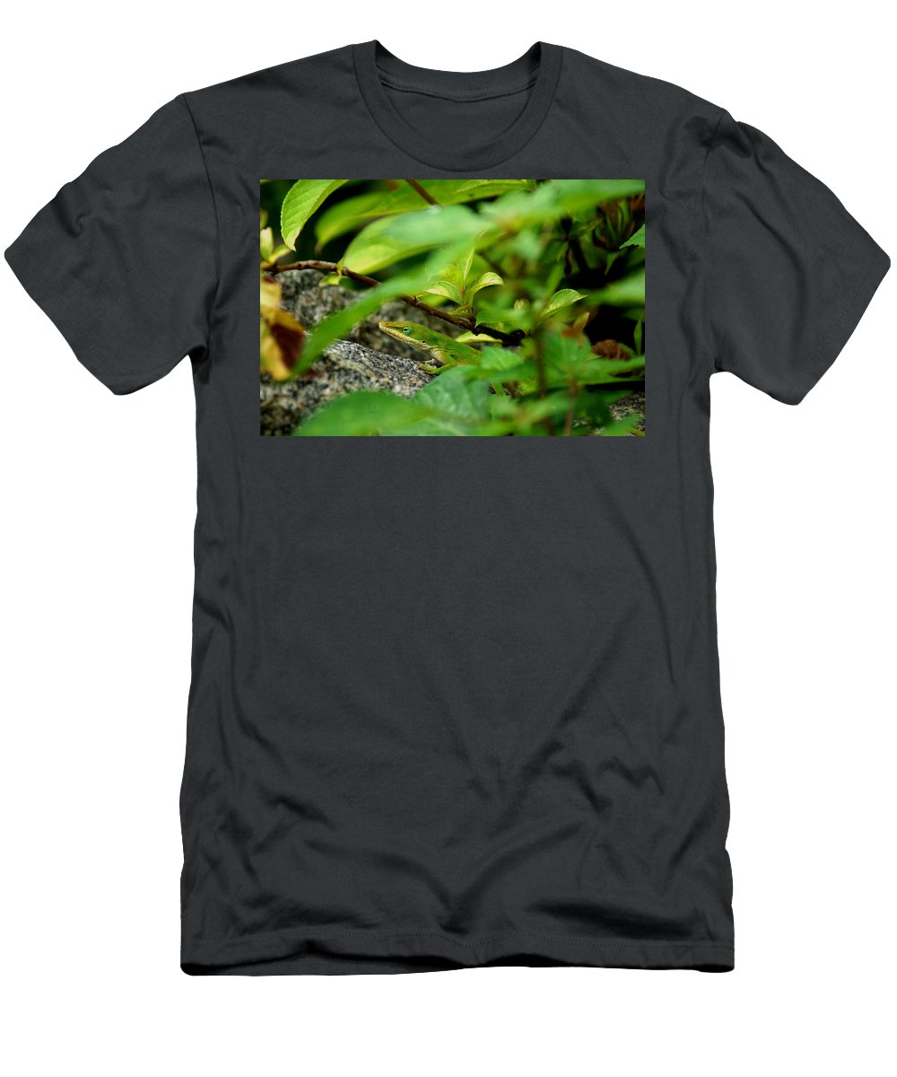 Carolina Anole Men's T-Shirt (Athletic Fit) featuring the photograph An Angry Anole by Kim Pate