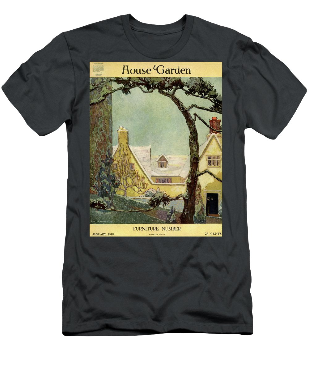 House And Garden Men's T-Shirt (Athletic Fit) featuring the photograph An English Country House by Porter Woodruff