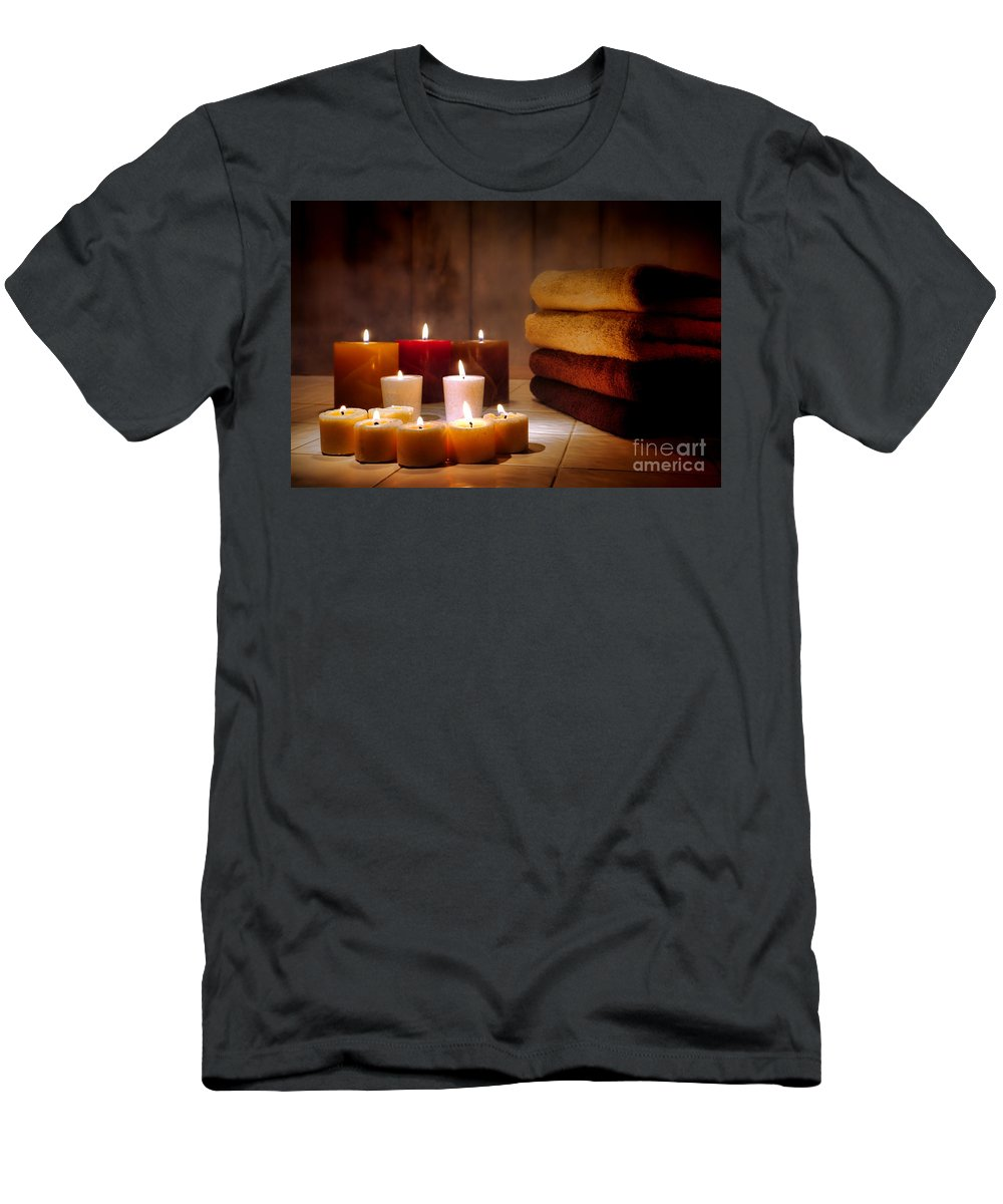 Candles Men's T-Shirt (Athletic Fit) featuring the photograph An Evening At The Spa by Olivier Le Queinec