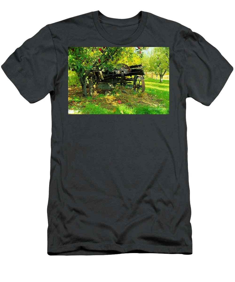 Rural Things Men's T-Shirt (Athletic Fit) featuring the photograph An Old Harvest Wagon by Jeff Swan