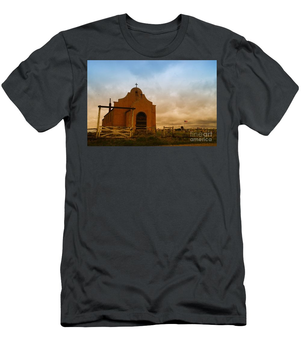 Churches Men's T-Shirt (Athletic Fit) featuring the photograph An Old Mission In Northeastern Montana by Jeff Swan