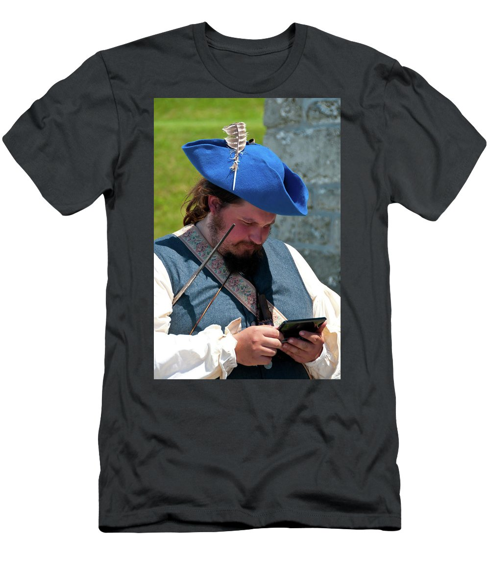 French & Indian War Re-enactor Men's T-Shirt (Athletic Fit) featuring the photograph Anachronism 6957 by Guy Whiteley