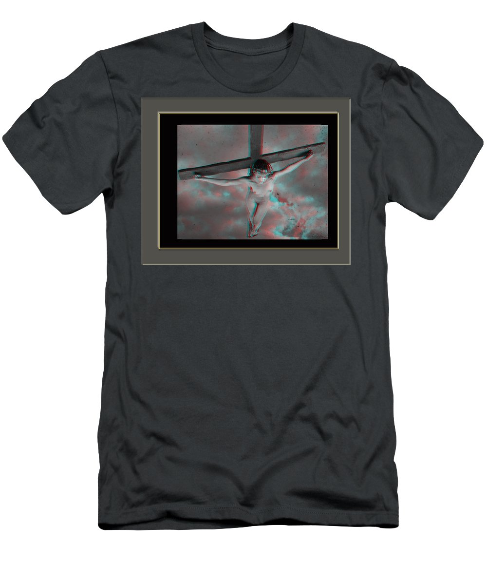 Anaglyph Men's T-Shirt (Athletic Fit) featuring the photograph Anaglyph Black Female Jesus by Ramon Martinez