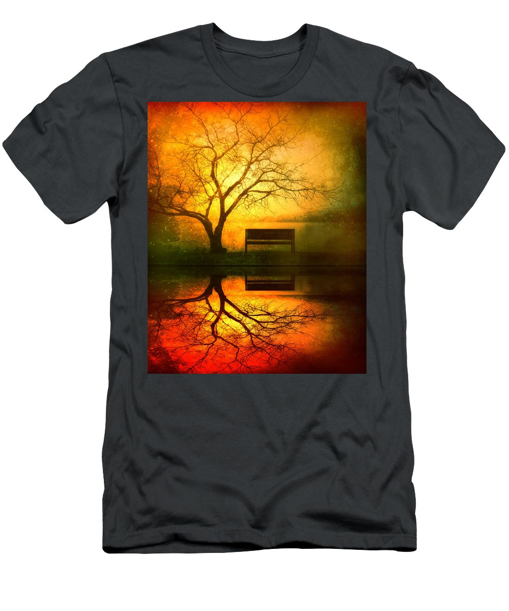 Bench T-Shirt featuring the photograph And I Will Wait For You Until The Sun Goes Down by Tara Turner