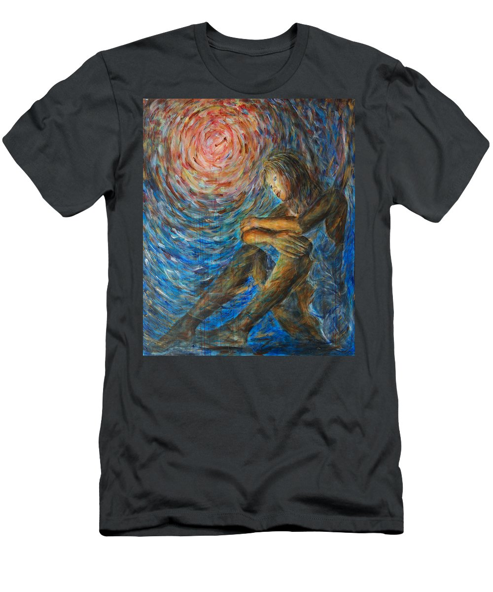 Angel Men's T-Shirt (Athletic Fit) featuring the painting Angel Moon I by Nik Helbig